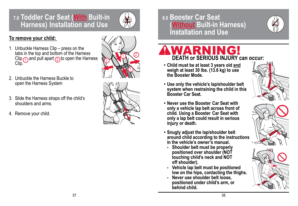 Warning Babytrend Hybrid 3 In 1 User Manual Page 30 48
