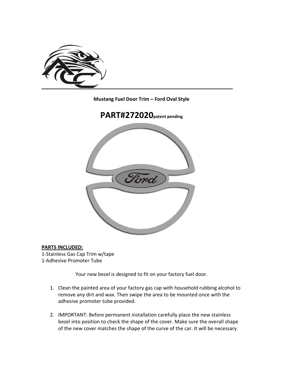 """American Car Craft Mustang Gas Cap Cover """"Ford Oval Style Polished  2011-2012"""" User Manual 