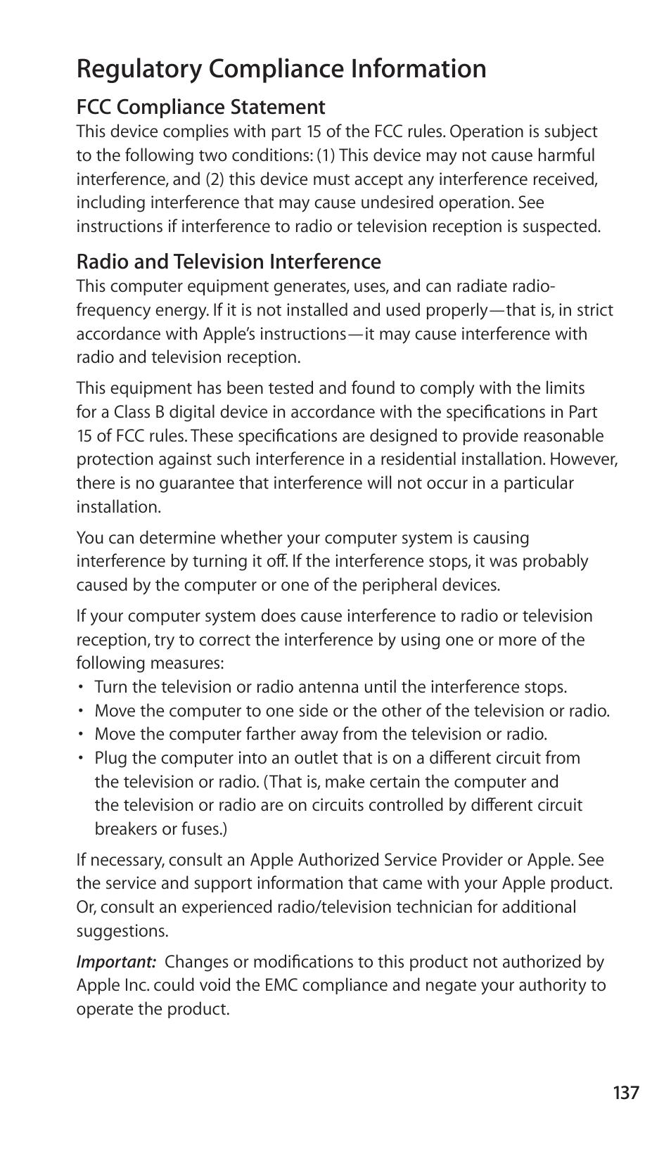 Regulatory compliance information | Apple Nike + iPod Sensor User Manual |  Page 137 / 144