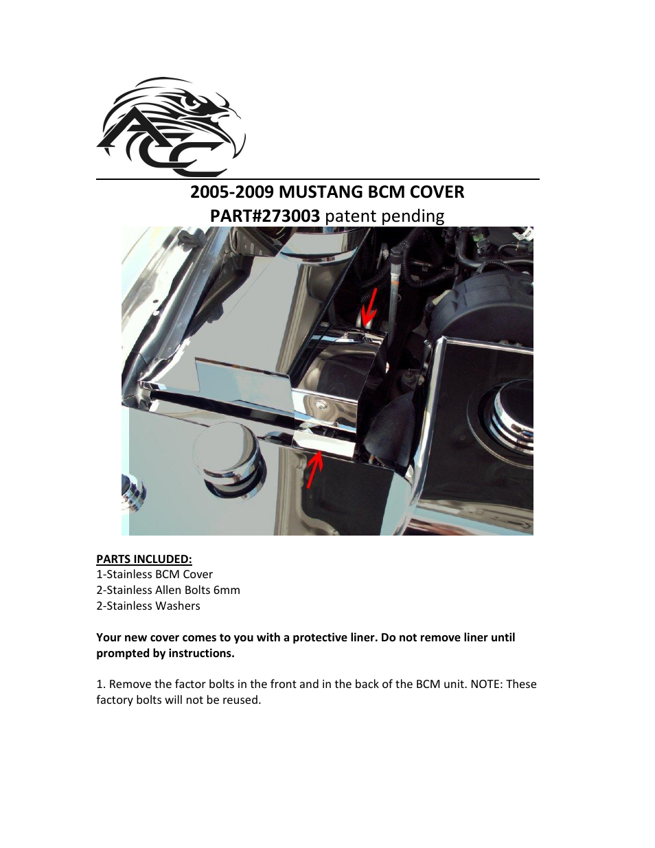 American Car Craft Mustang Bcm Cover Polished Stand Alone V6 Only 2005 2009 User Manual 2 Pages