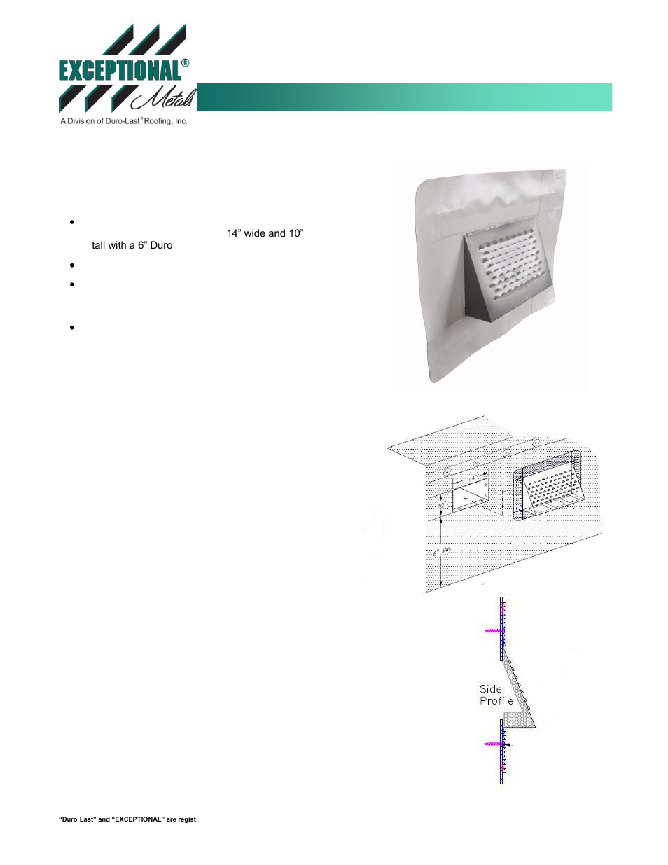Duro Last Parapet Wall Vent User Manual 1 Page