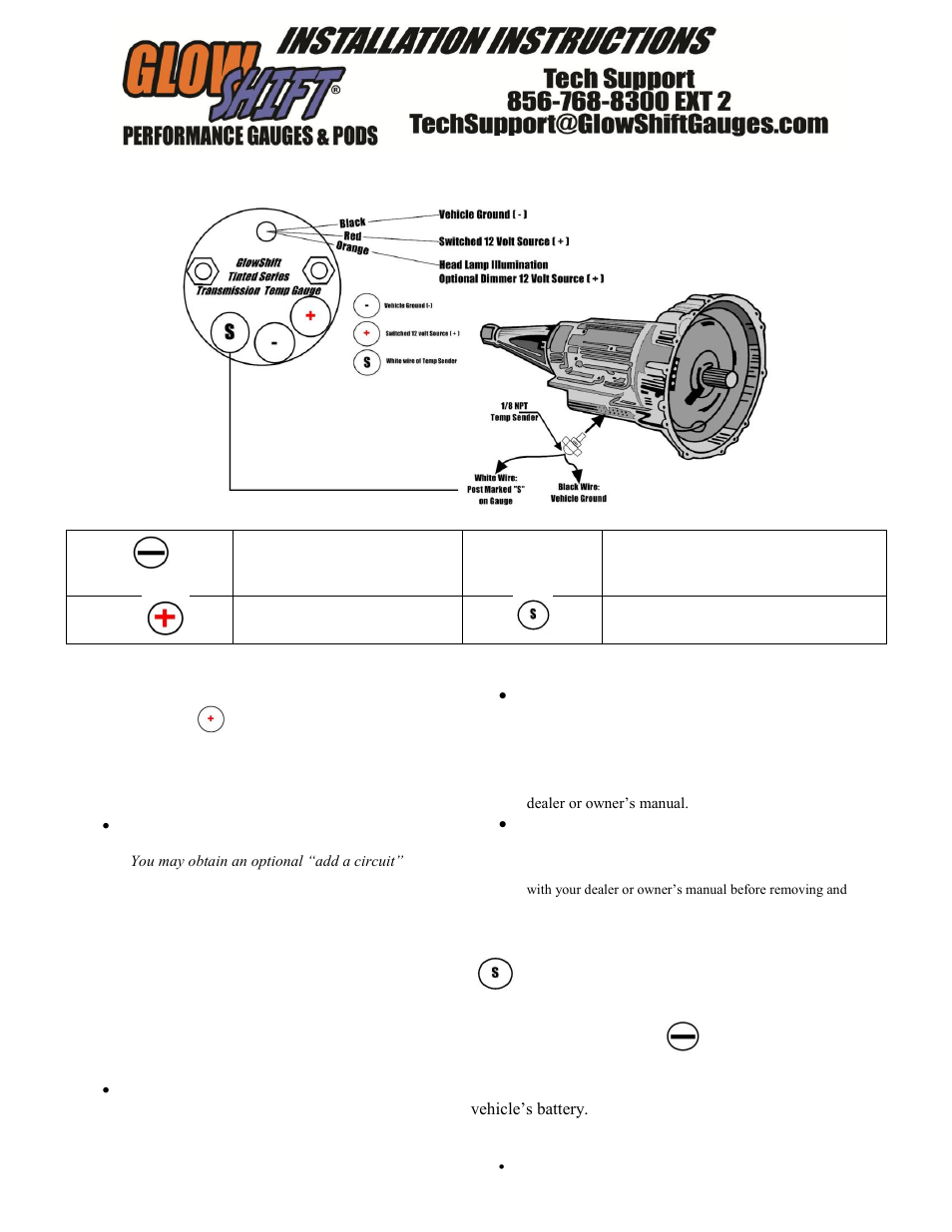 tran temp gauge wiring diagram glowshift tinted series transmission temperature gauge user manual | 3 pages #9