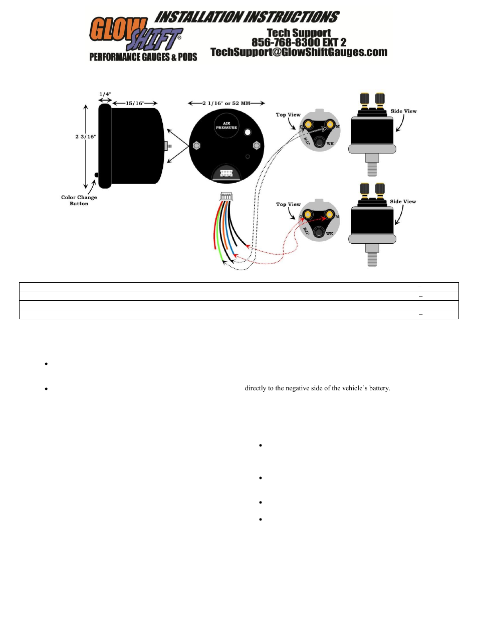 Air Pressure Gauge Wiring Diagram Third Level Gas Glowshift 7 Color Series 220 Psi Dual Digital
