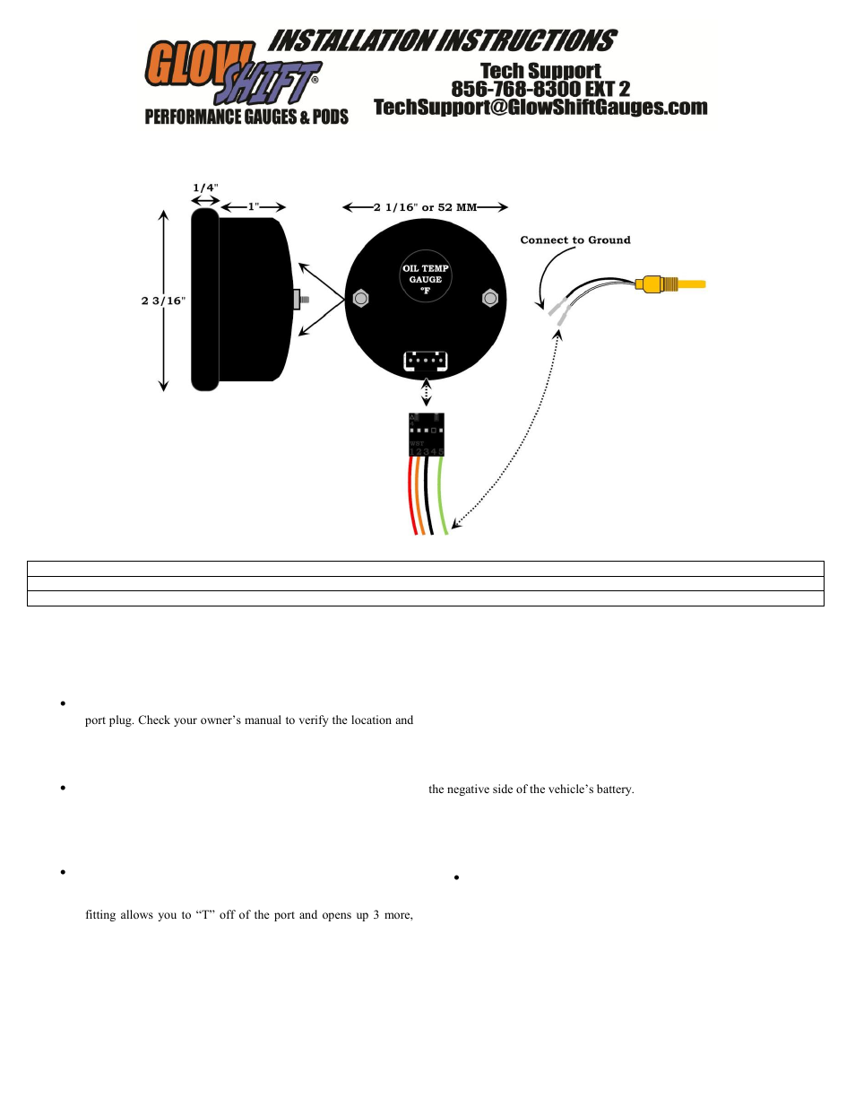 glowshift digital series oil temperature gauge user manual 3 pages rh manualsdir com