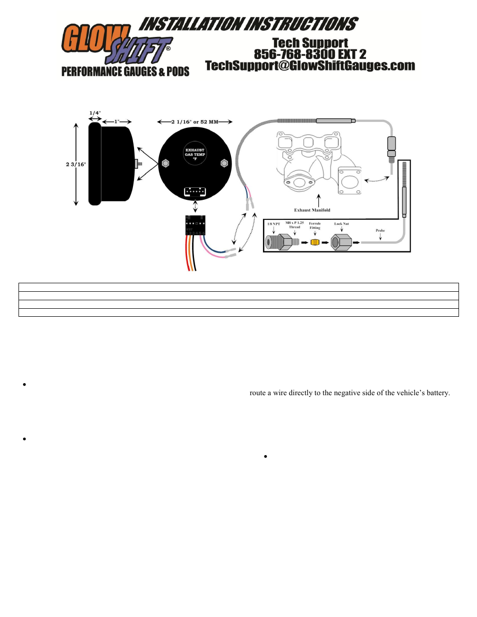 glowshift digital series pyrometer egt gauge user manual 3 pages also for exhaust gas. Black Bedroom Furniture Sets. Home Design Ideas
