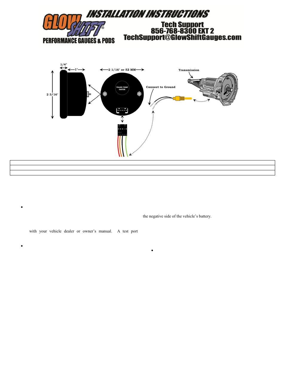 Glowshift Digital Series Celsius Transmission Temperature Gauge User Manual