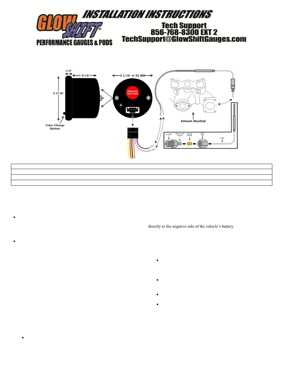 Glowshift 7 Color Series Pyrometer Egt Gauge User Manual 3 Pages A 30 Amp Fuse Box Wire