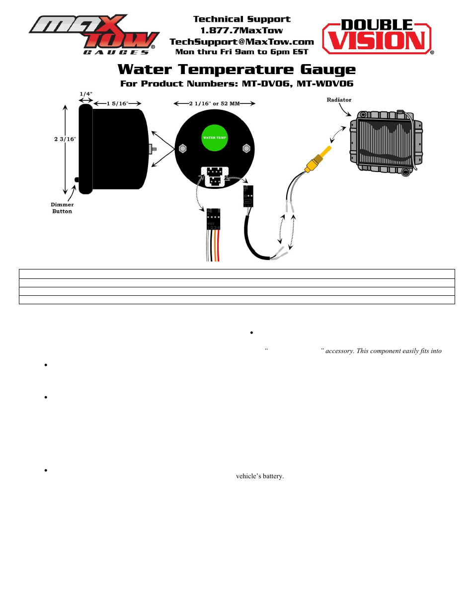 Glowshift Maxtow Series Water Temperature Gauge User Manual