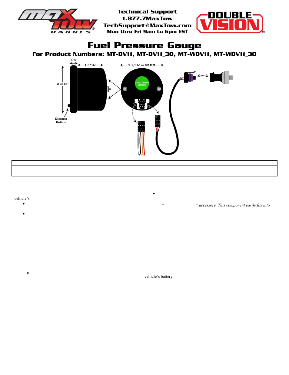 Glowshift Maxtow Series Fuel Pressure Gauge User Manual