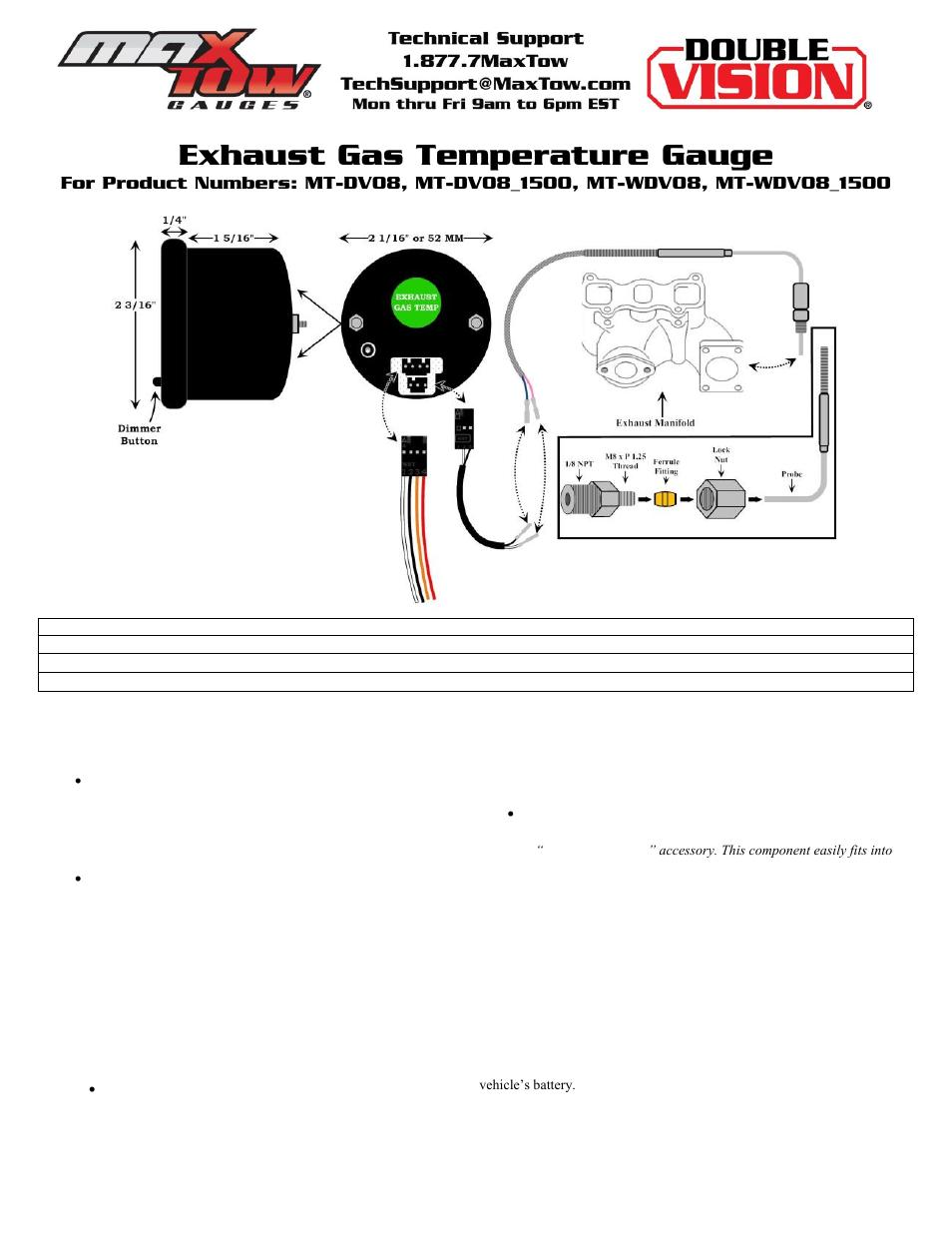 glowshift maxtow series exhaust gas temperature gauge user Glowshift Wiring Diagram gauge pod install 5 9 cummins 24 valve
