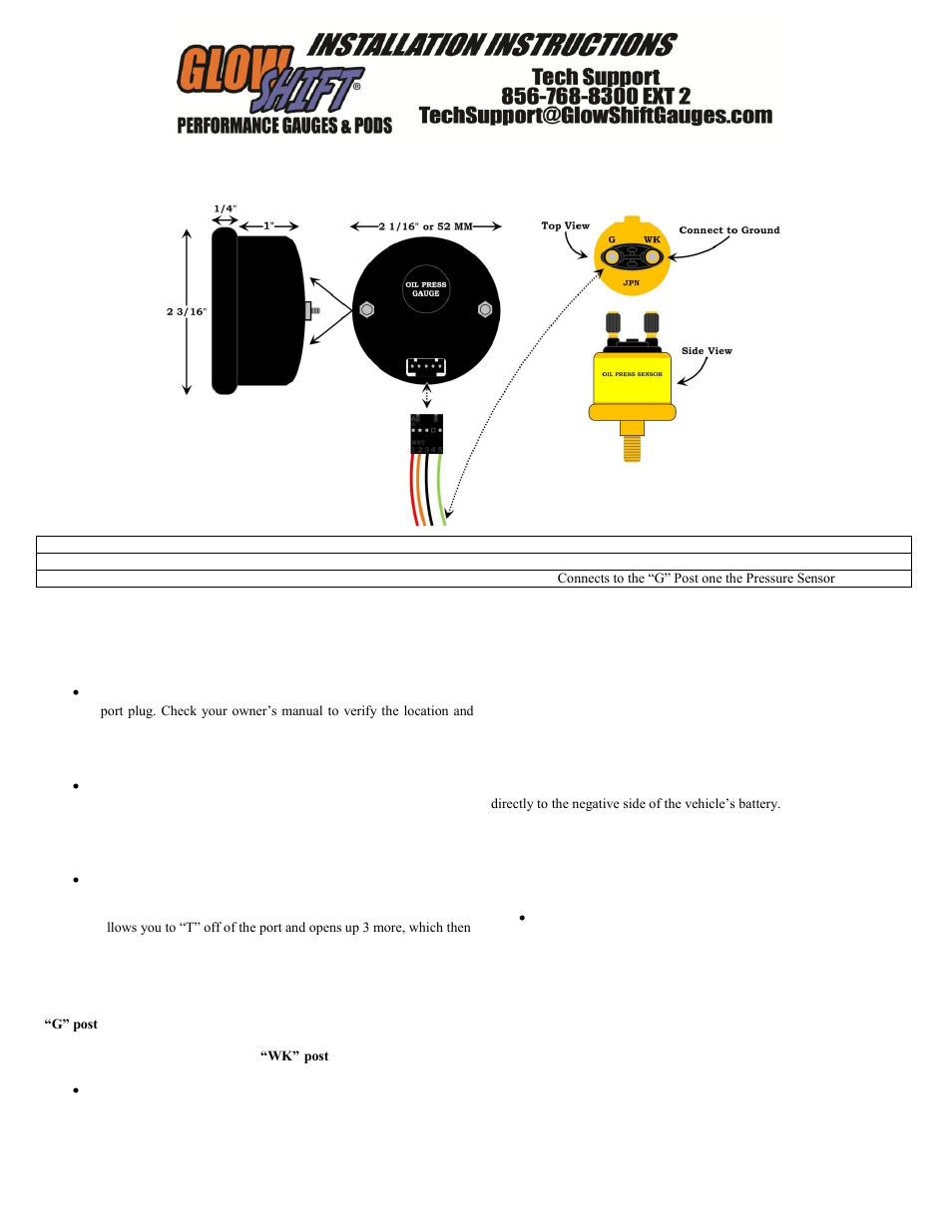 GlowShift Digital Series BAR Oil Pressure Gauge User Manual | 3 pages |  Also for: BAR Oil Pressure Gauge