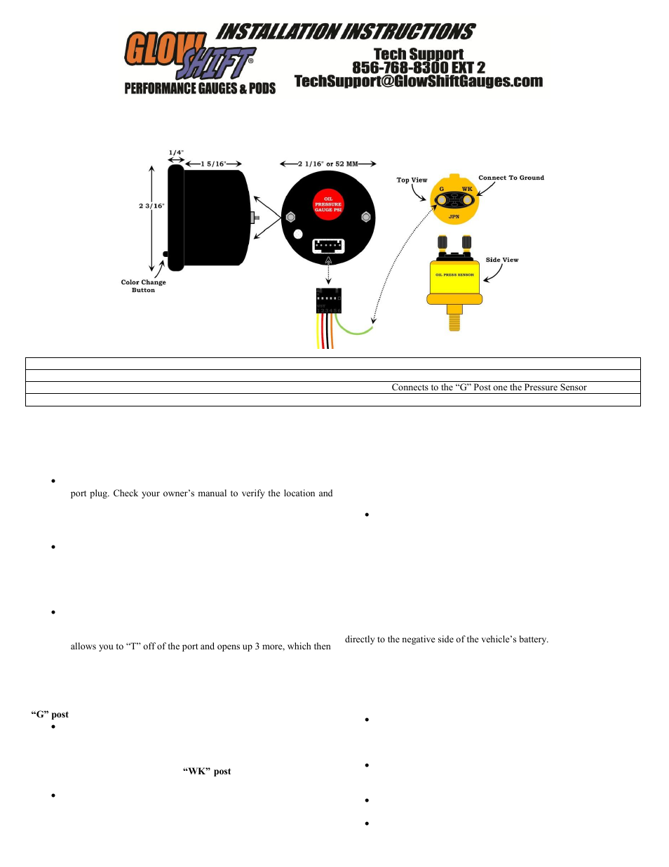 Glowshift 7 Color Series Oil Pressure Gauge User Manual