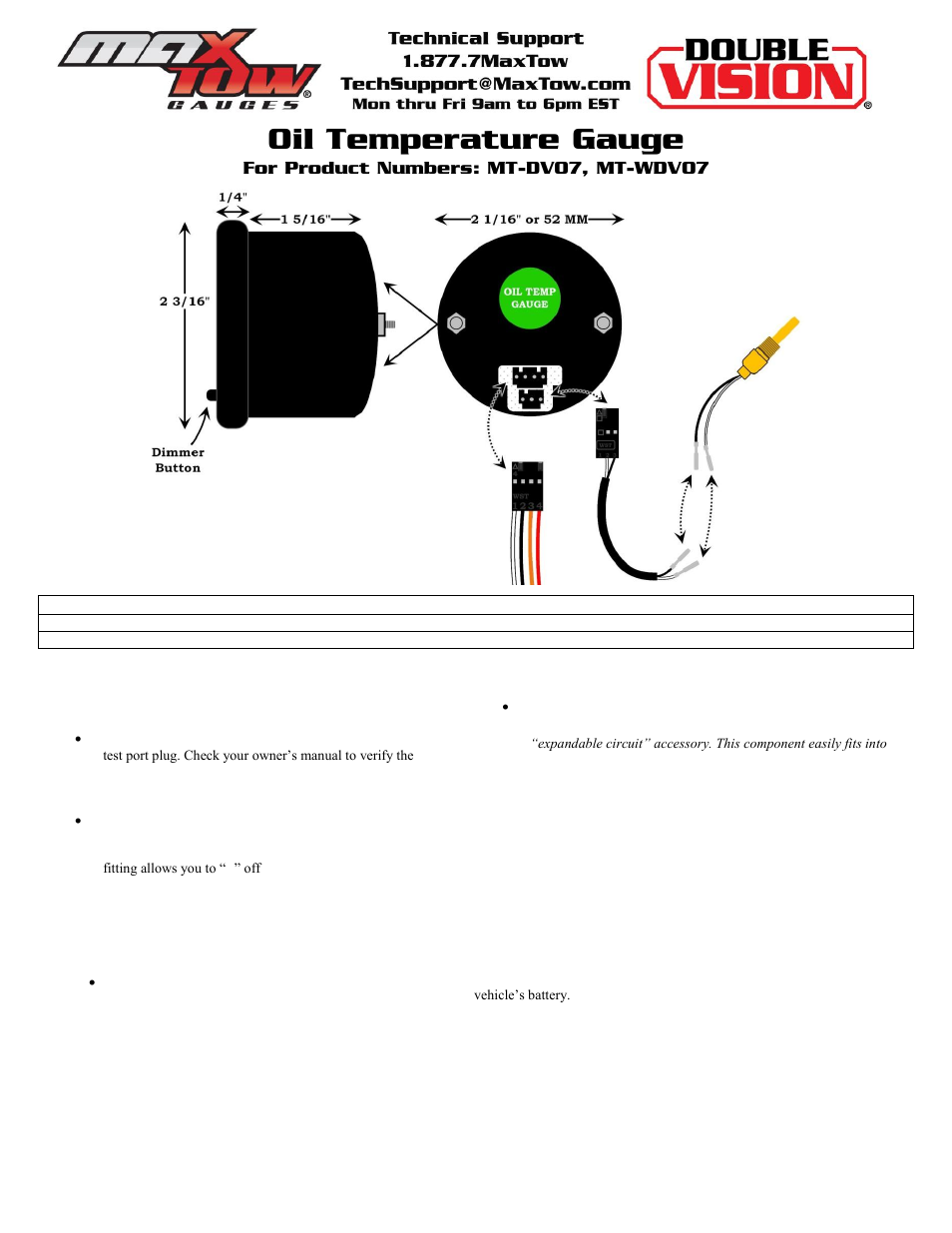 glowshift maxtow series oil temperature gauge user manual | 3 pages | also  for: oil temperature gauge