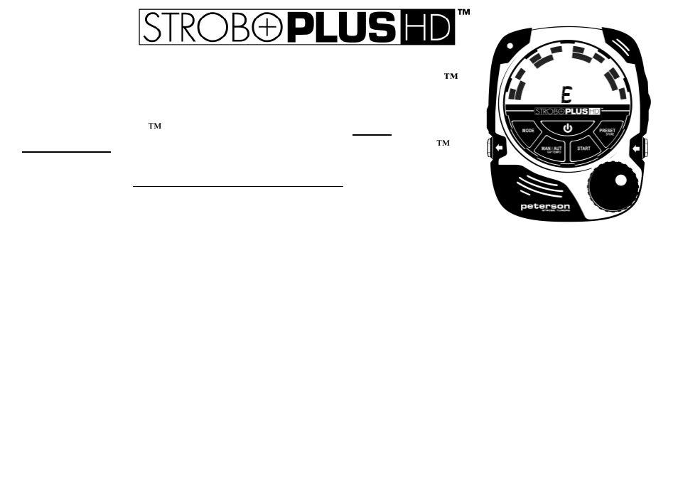 Peterson stroboplus hd quickstart guide user manual | 2 pages.