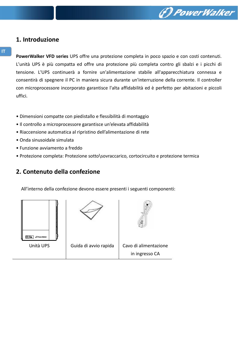 Introduzione, Contenuto della confezione | PowerWalker VFD