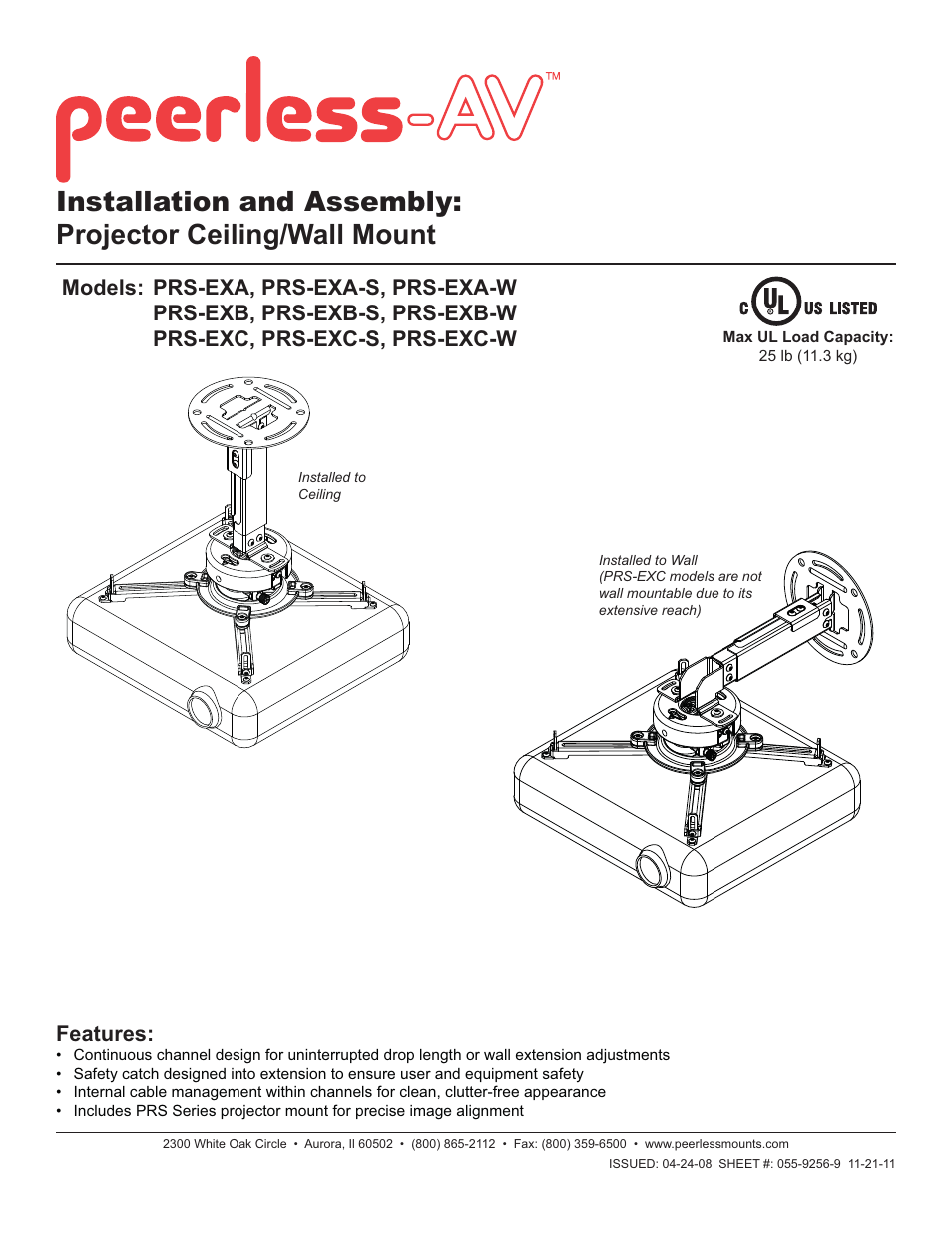 Peerless-AV PRS-EXC-W - Installation User Manual | 13 pages