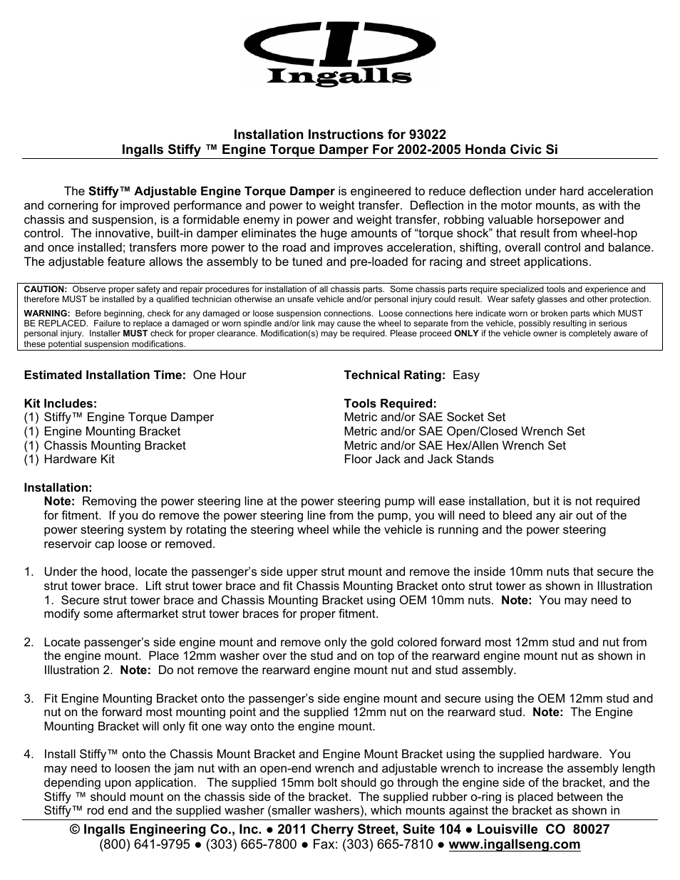 Ingalls 93022 User Manual | 3 pages