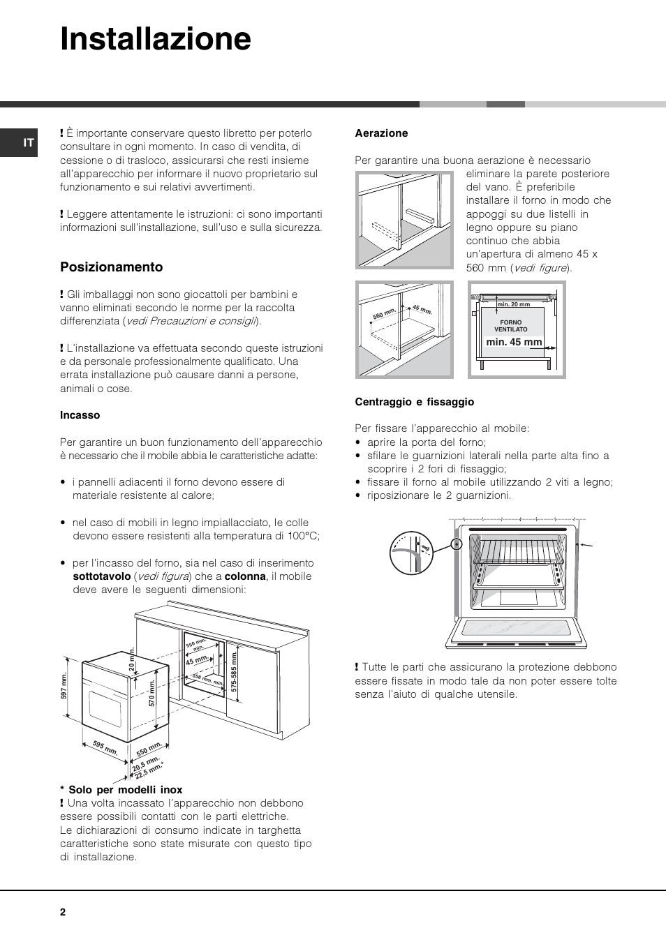 Installazione Posizionamento Hotpoint Ariston Ok 1035 El