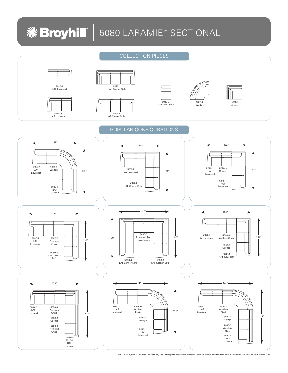 Broyhill LARAMIE SECTIONAL Configurations User Manual | 1 page
