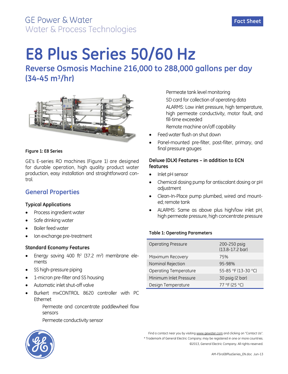 Ge P W E Series Reverse Osmosis E8 Plus Series 50 60 Hz User