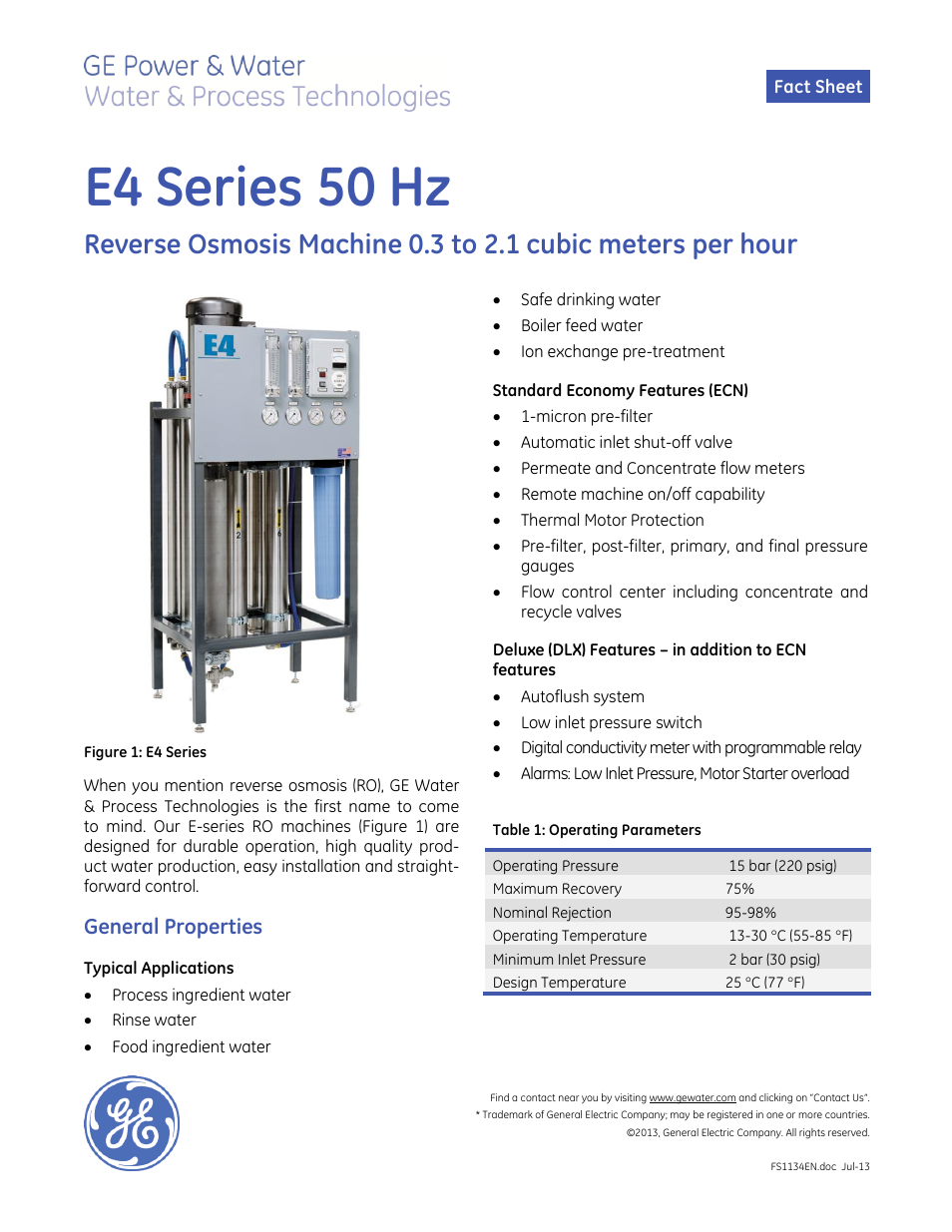 Ge Pw E Series Reverse Osmosis E4 50 Hz User Manual 2 Pages General Electric Relay Manuals