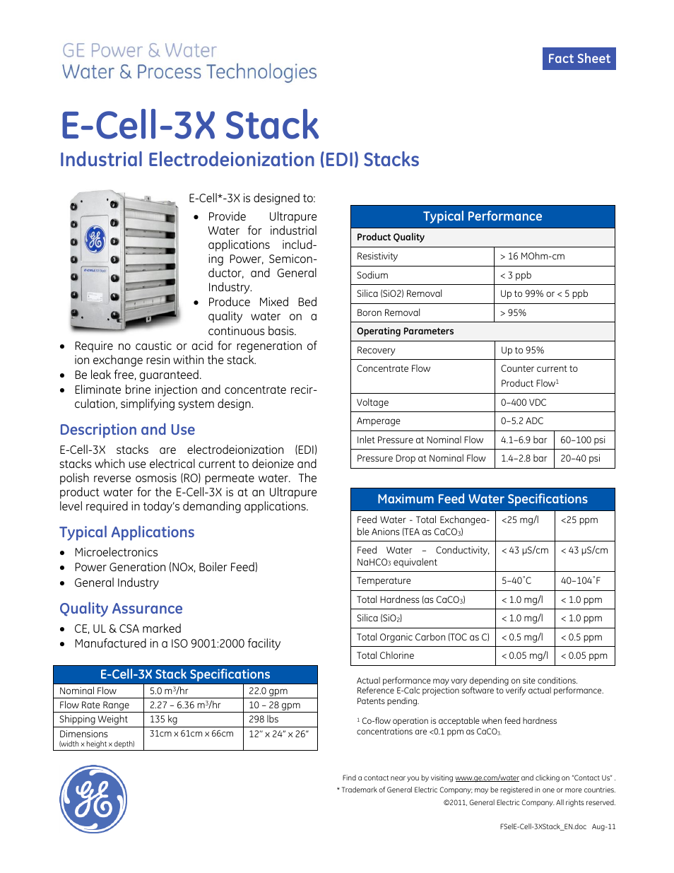 Ge P Amp W Electrodeionization Edi E Cell 3x Stack User