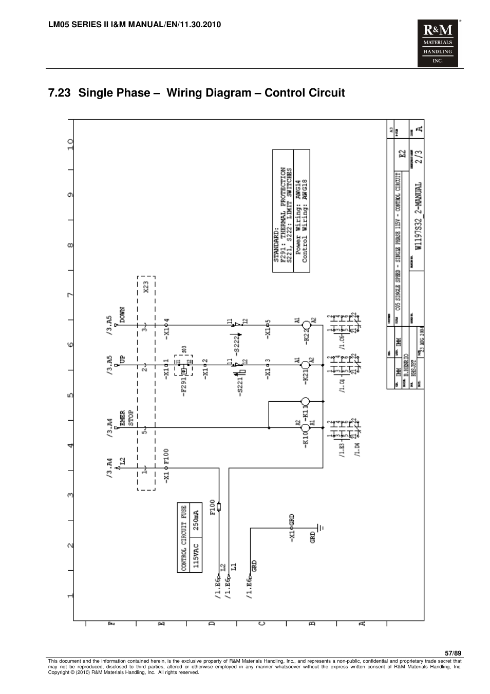 23 Single Phase  U2013 Wiring Diagram  U2013 Control Circuit