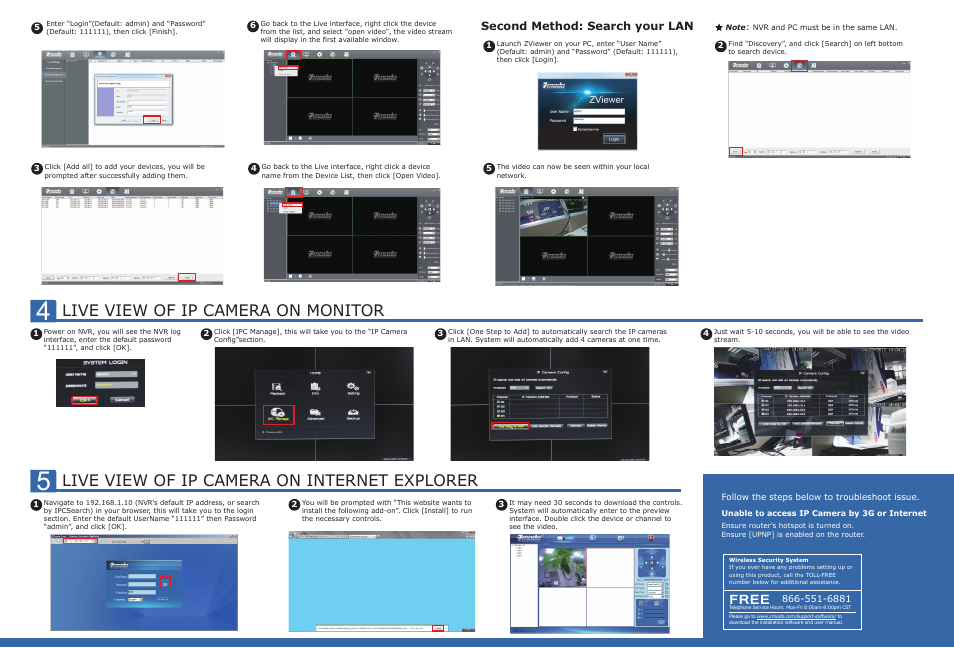 Live view of ip camera on monitor, Live view of ip camera on