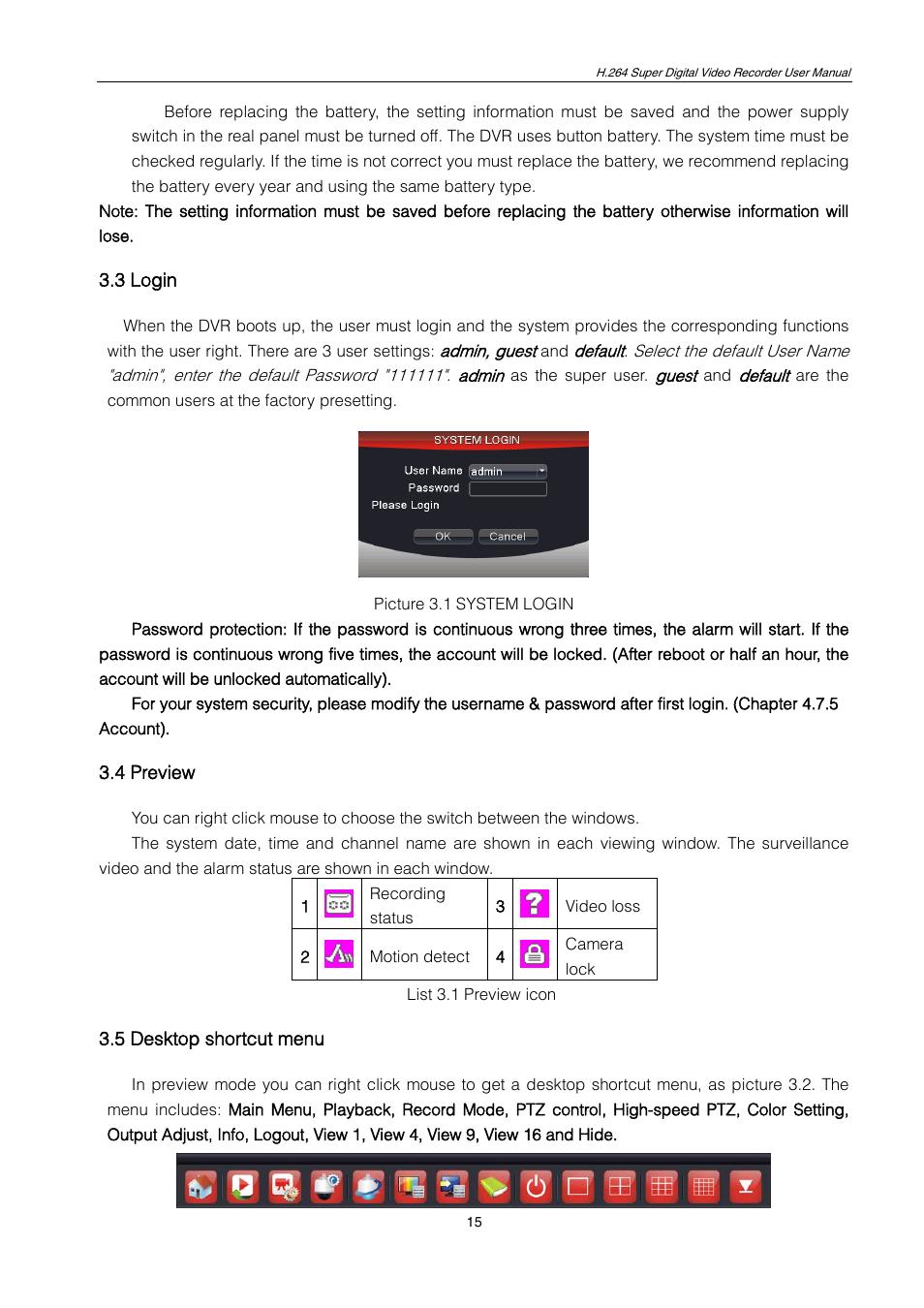 3 login, 4 preview, 5 desktop shortcut menu   ZMODO ZMD-DT