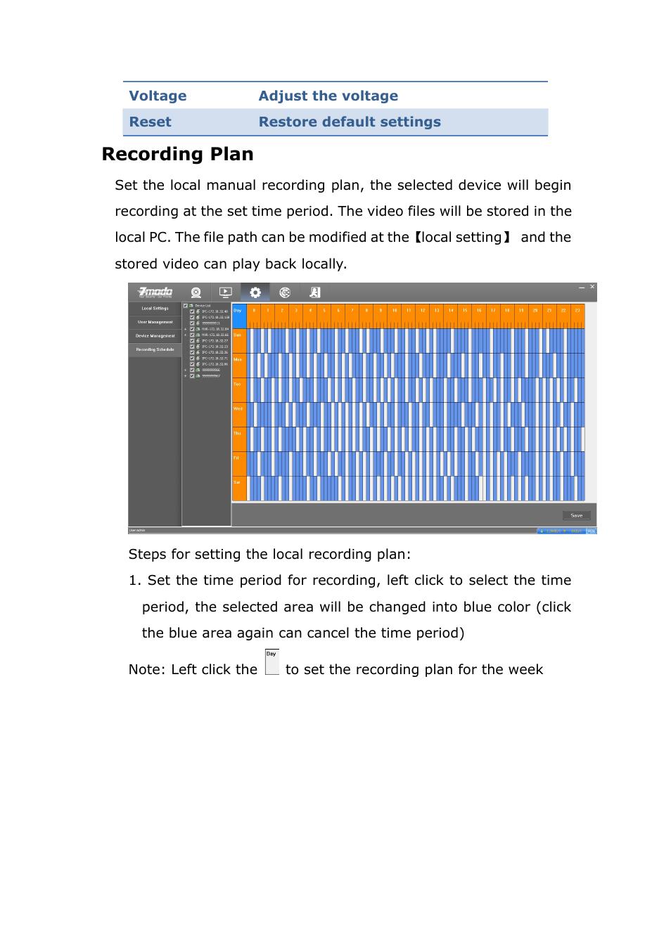 Recordingplan, Recording plan | ZMODO ZP-IBH13-P 720P HD H