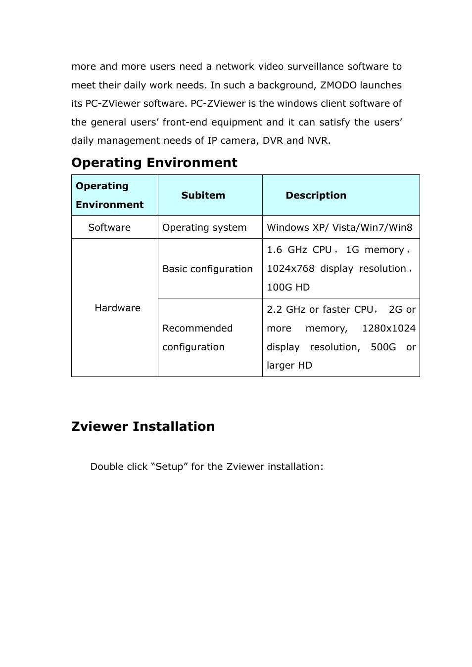 Zviewerinstallation, Zviewer installation, Operating environment