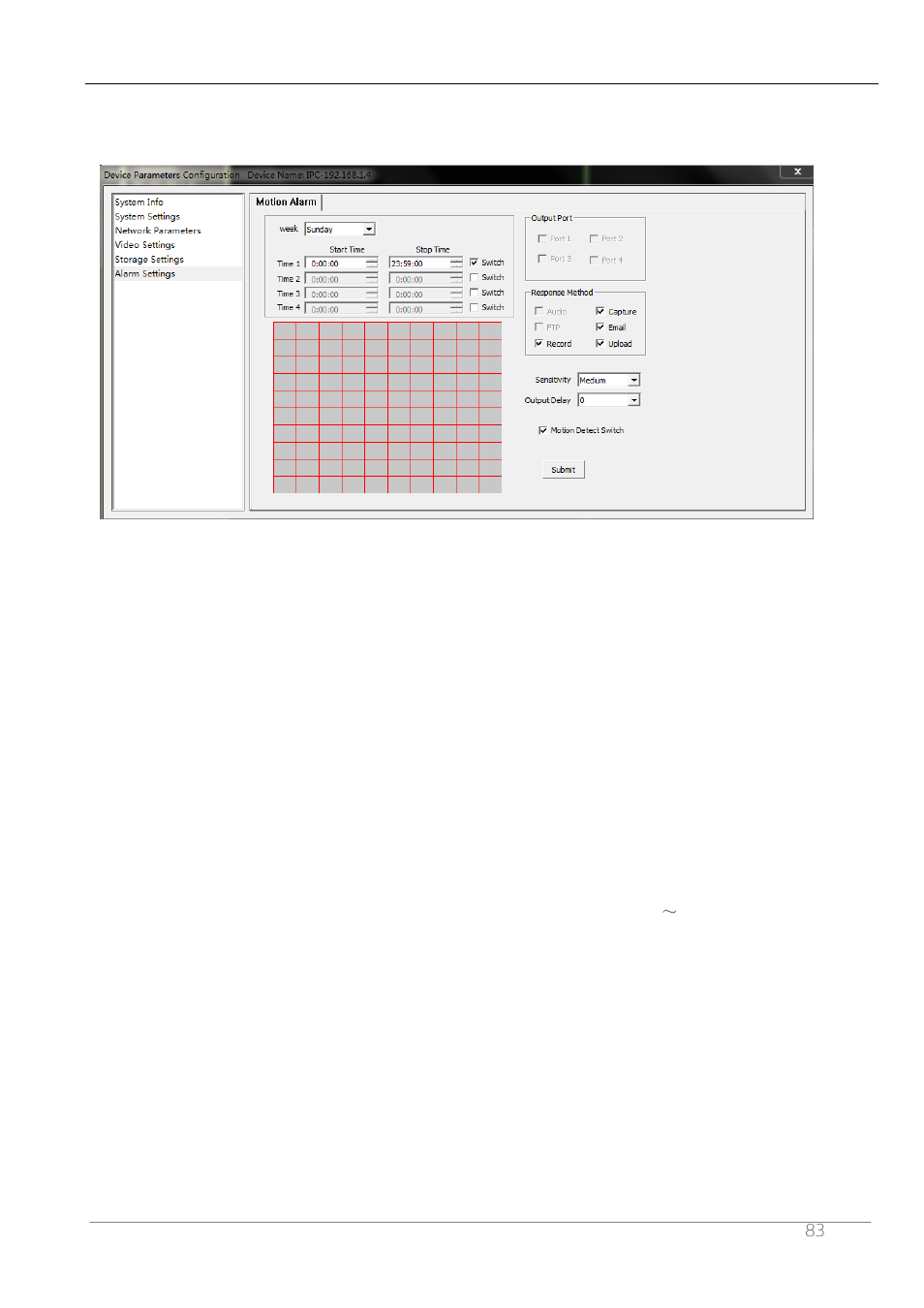 6 alarm settings   ZMODO ZP-IBH13-P 720P HD H 264 PoE IP Infrared