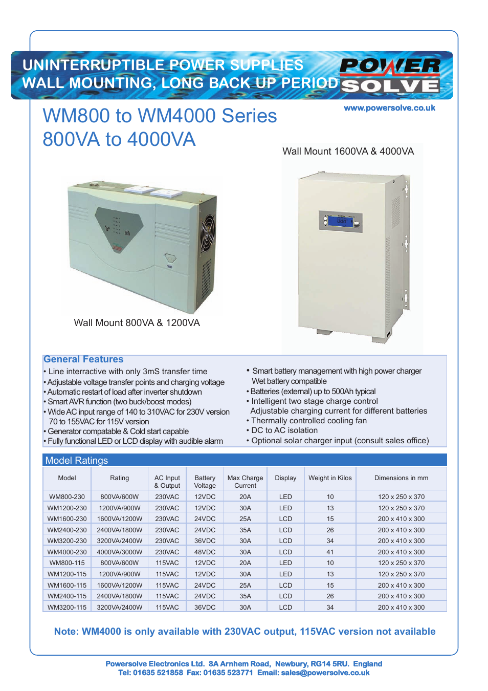 Powersolve WM4000 Series User Manual | 2 pages