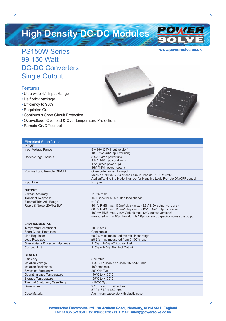 Powersolve Ps150w Series User Manual 3 Pages Logic Overvoltage Protection