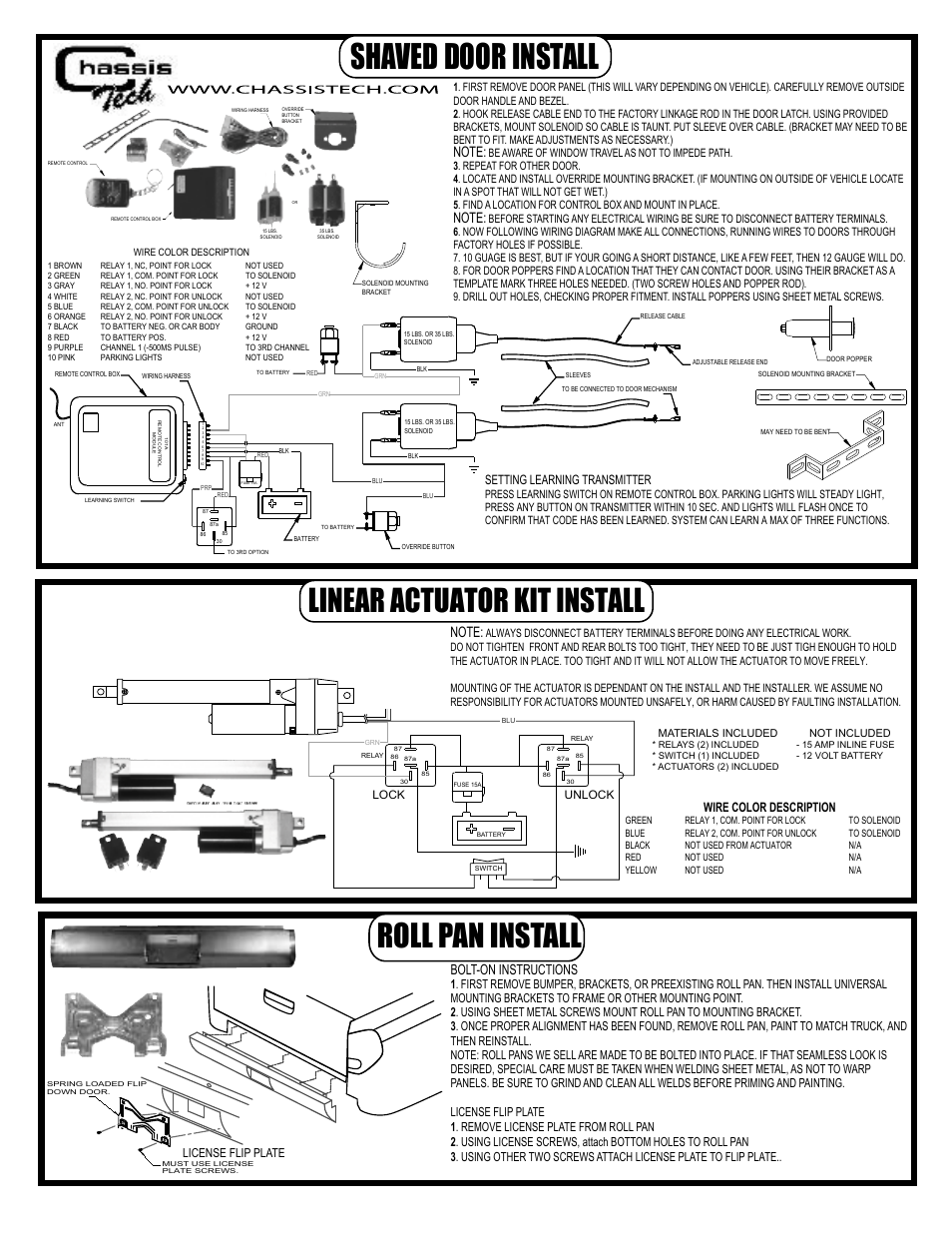 airbagit shaved door linear actuator roll pan page1 airbagit shaved door, linear actuator, roll pan user manual 1 page door popper relay wiring diagram at gsmx.co