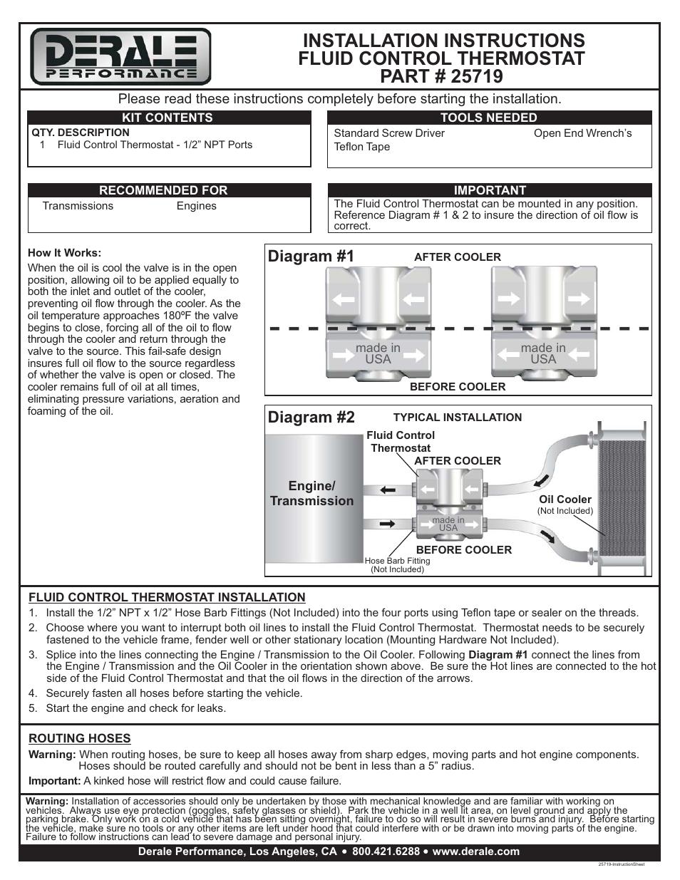 [DIAGRAM_38ZD]  Derale 25719 Fluid Control Thermostat Kit formtech-inc.com | Derale Oil Cooler Wiring Diagram |  | Formtech