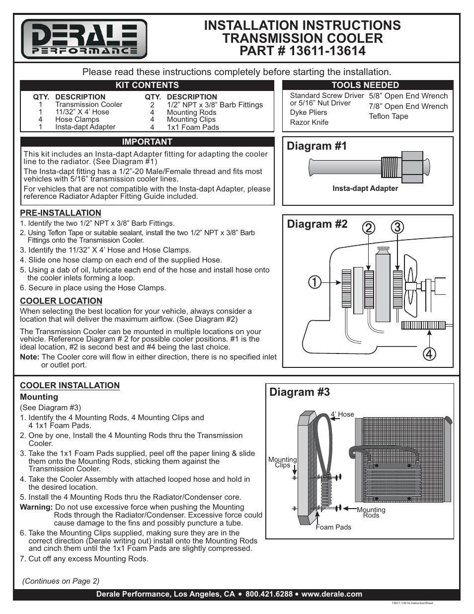 [QNCB_7524]  Derale Performance 5 Row Series 9000 Plate & Fin Transmission Cooler Kit  User Manual | 3 pages | Derale Oil Cooler Wiring Diagram |  | Manuals Directory