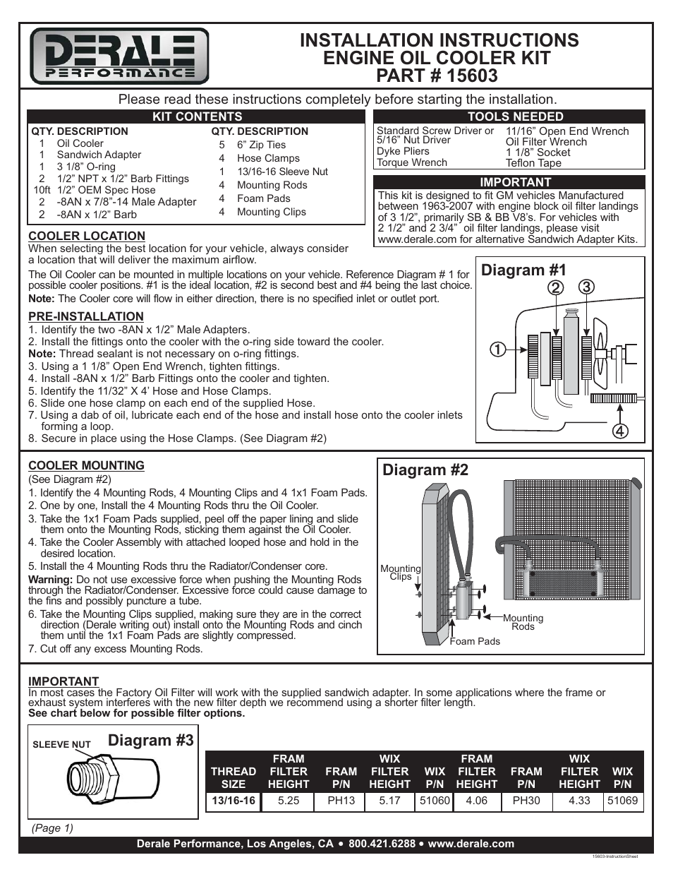 Derale Performance 10 Row Series 10000 Stack Plate GM V8 Engine Oil Cooler  Kit, Sandwich Adapter User Manual | 2 pages
