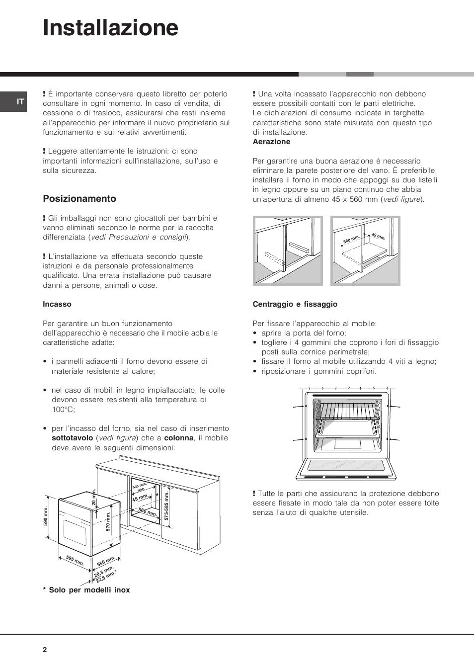 Installazione Posizionamento Hotpoint Ariston Luce Fk 89