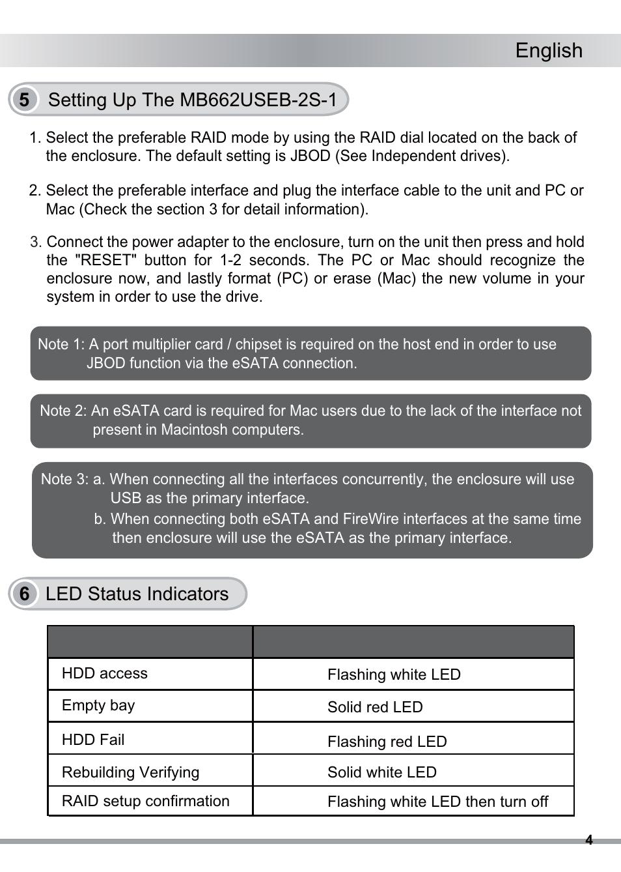 English, 6 led status indicators | ICY DOCK ICYRaid MB662USEB-2S-1
