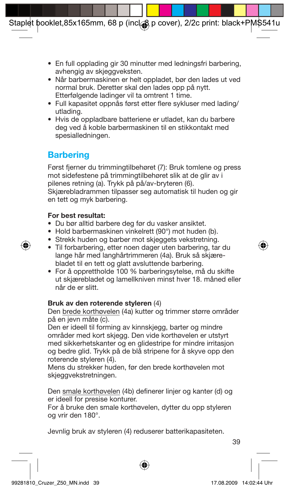 5c2584b8 Barbering   Braun Z50-5734 CruZer3 User Manual   Page 39 / 66 ...