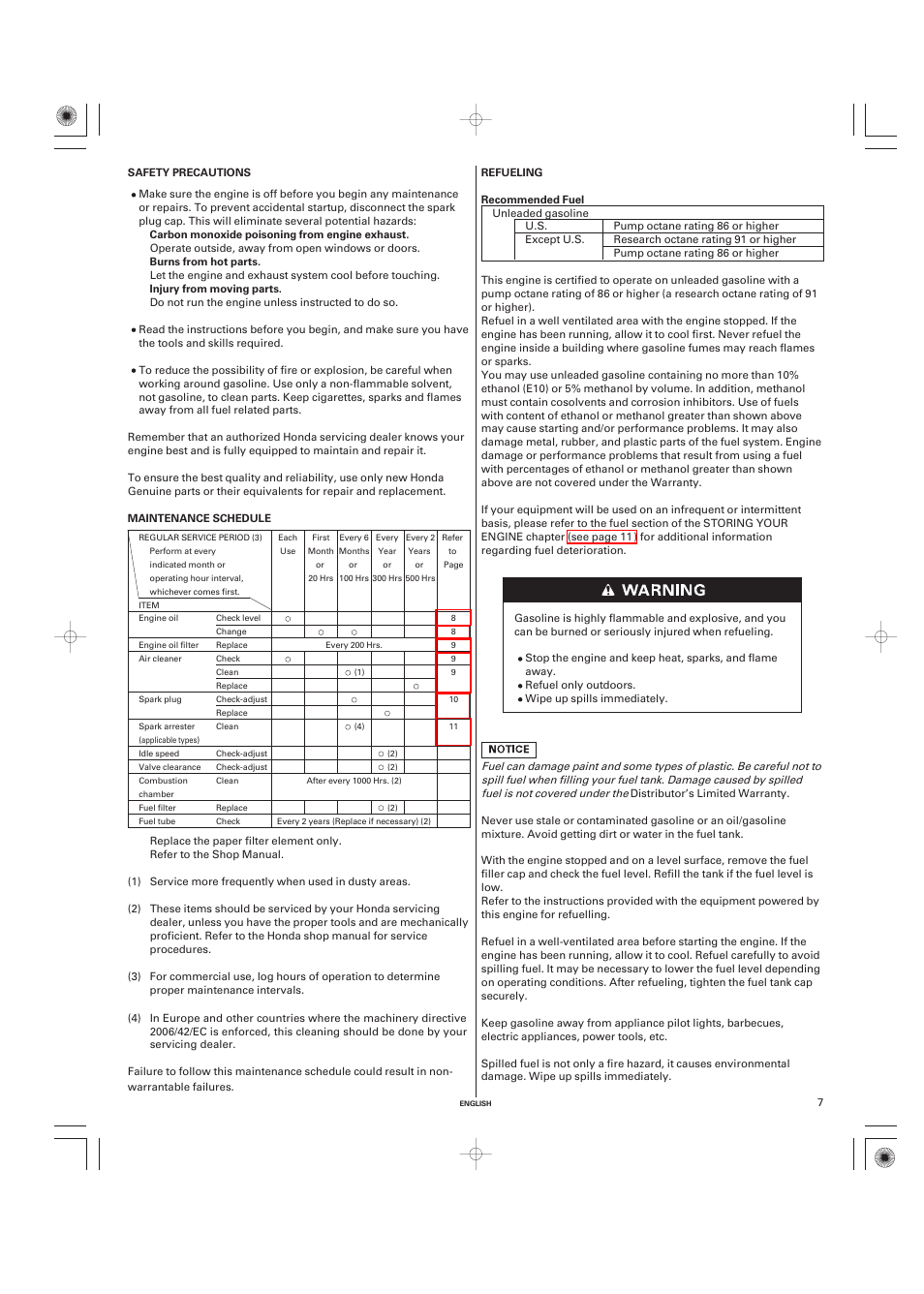 Safety precautions, Maintenance schedule, Refueling | Unique Industries  Honda GX690 User Manual | Page