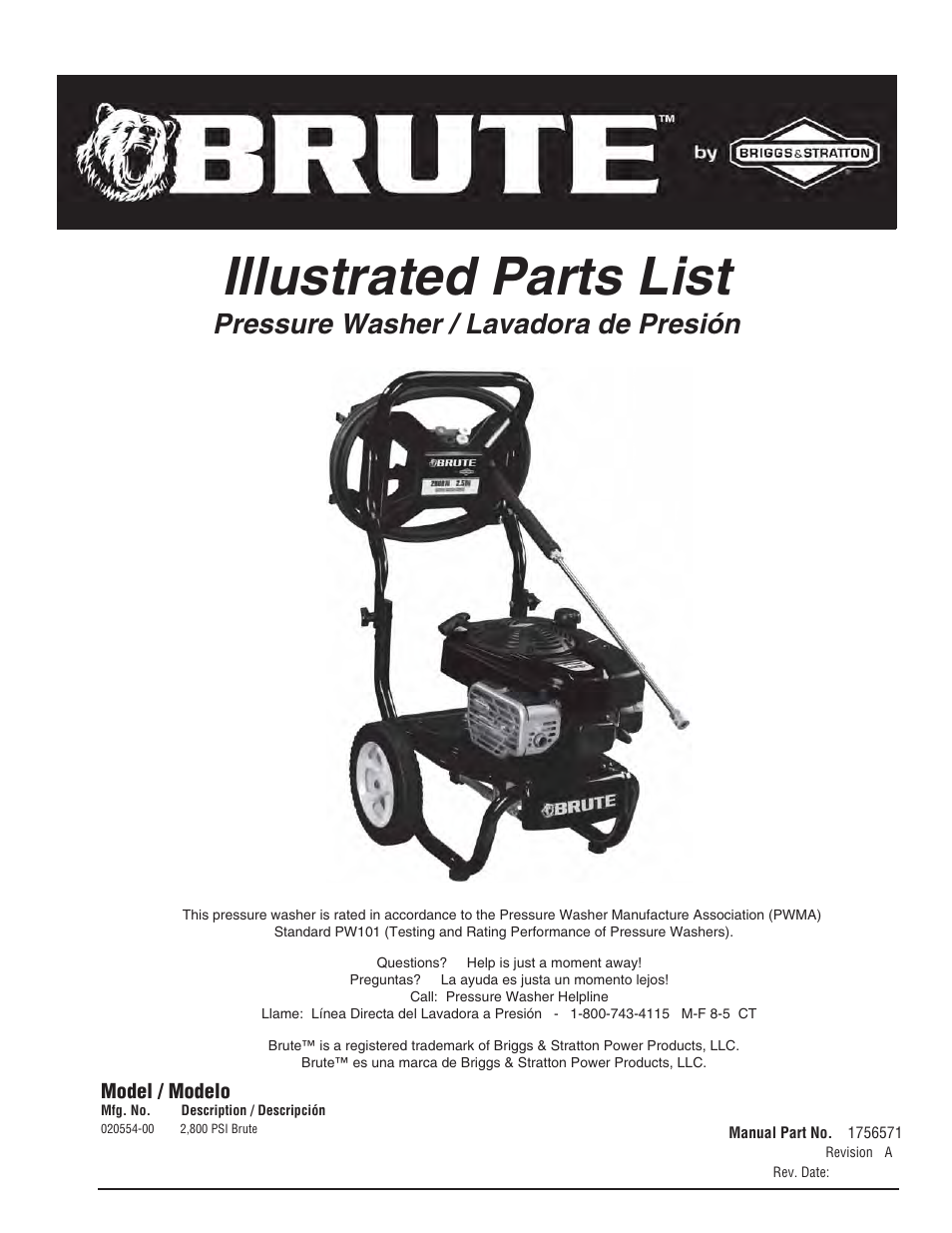brute 2800 psi pressure washer user manual