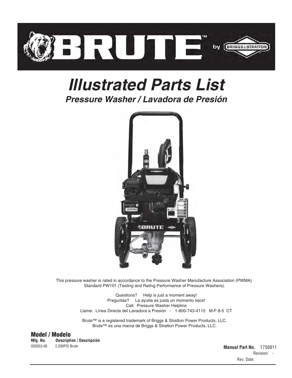 Brute 2200 Psi Pressure Washer User Manual 8 Pages Briggs And Stratton Engine Diagram Parts List For