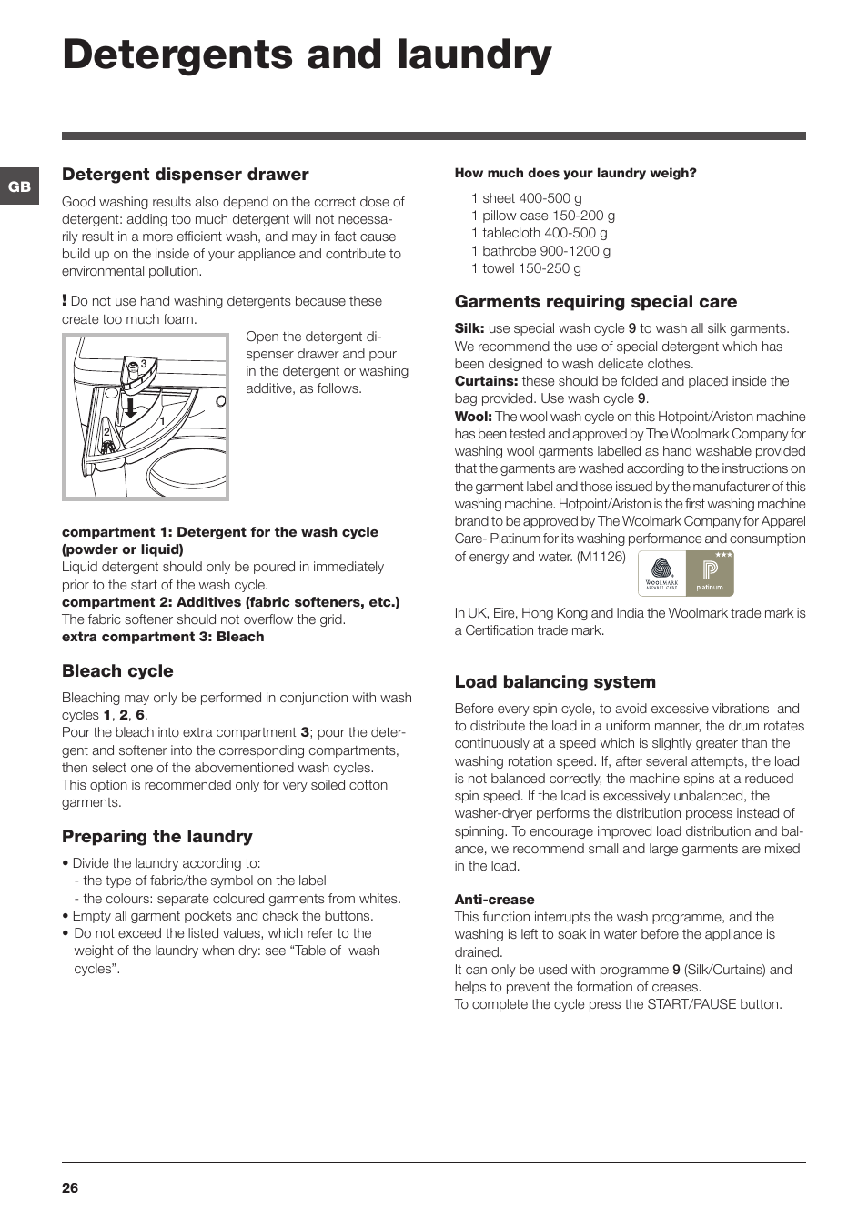 Detergents And Laundry Hotpoint Ariston Cawd 129 Eu User Manual