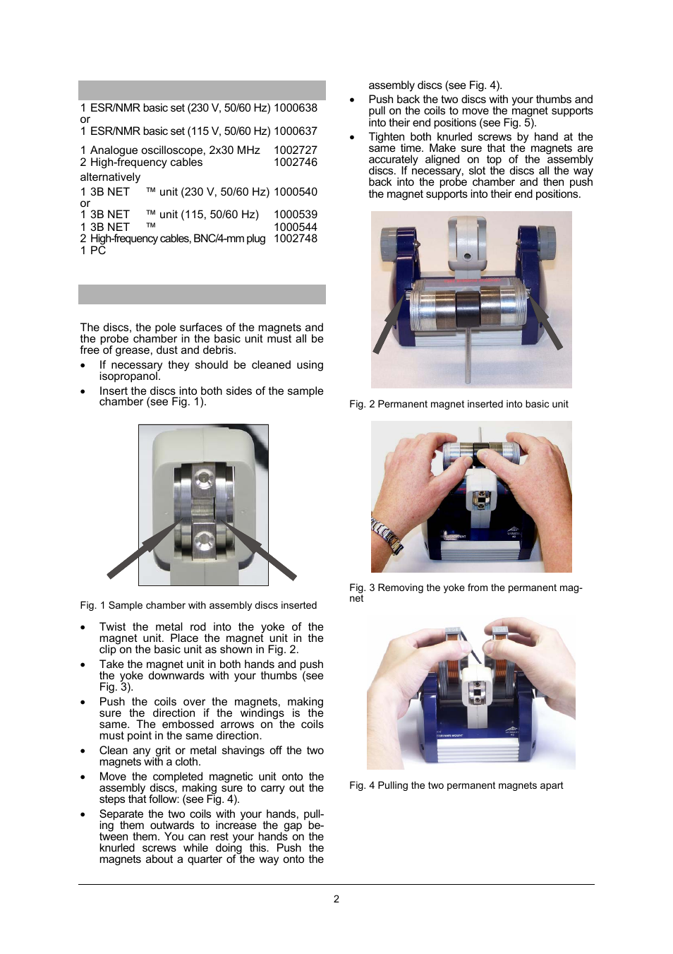 3b Scientific Teltron Nmr Supplementary Set User Manual Page 2 6