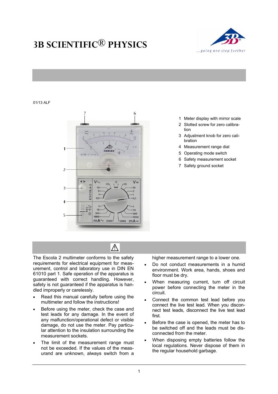 3b Scientific Multimeter Escola2 User Manual 4 Pages