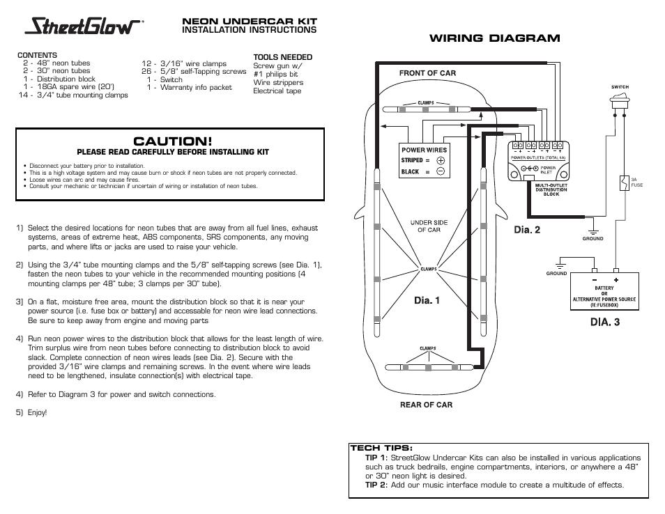 Caution, Wiring diagram | StreetGlow Blue Line Neon Undercar ... on neon walls, neon pumps, neon kitchen, neon glass, neon transformers,