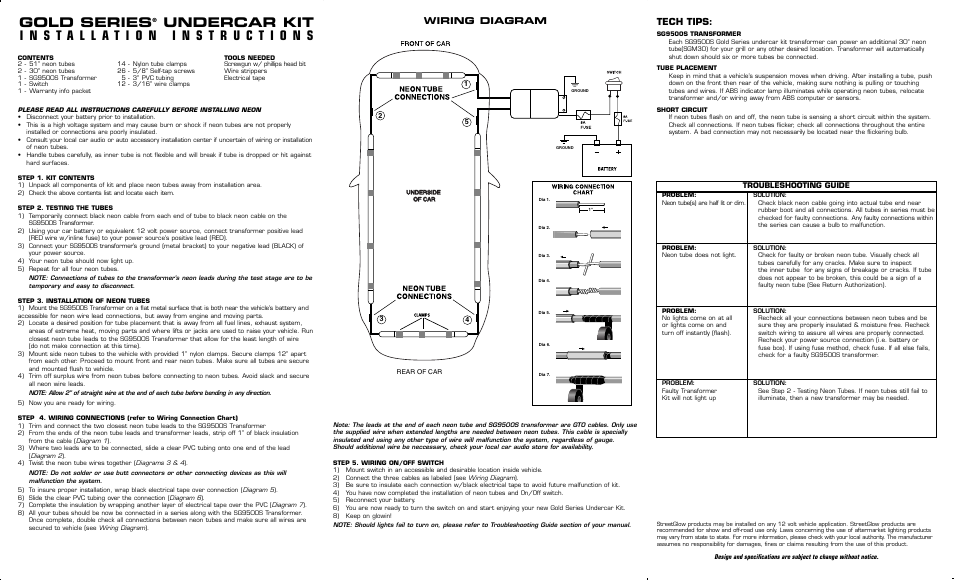 StreetGlow Gold Series Neon Undercar Kit User Manual | 2 pages