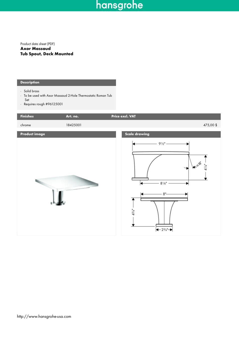 Factory Direct Hardware Hansgrohe 18425001 Axor Massaud User Manual ...